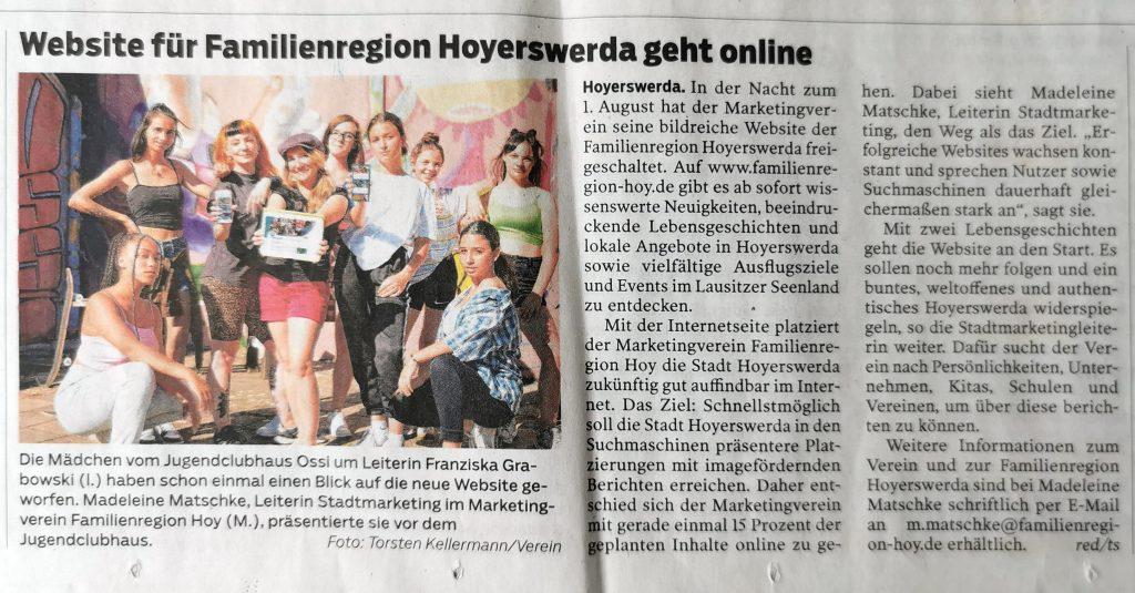 Presse-Artikel in der SZ Hoyerswerda zum Golife der Website unserer Familienregion