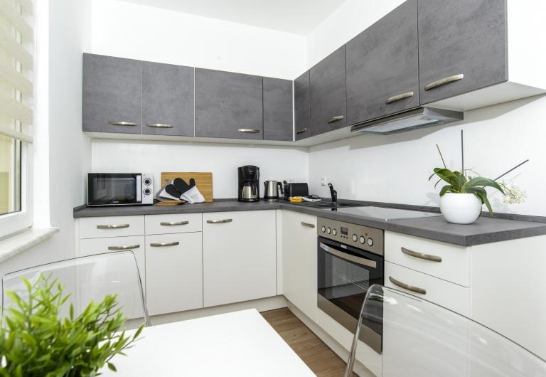 Moderne Küche in Gästewohnung lässt für den Familienurlaub in Hoyerswerda keine Wünsche offen