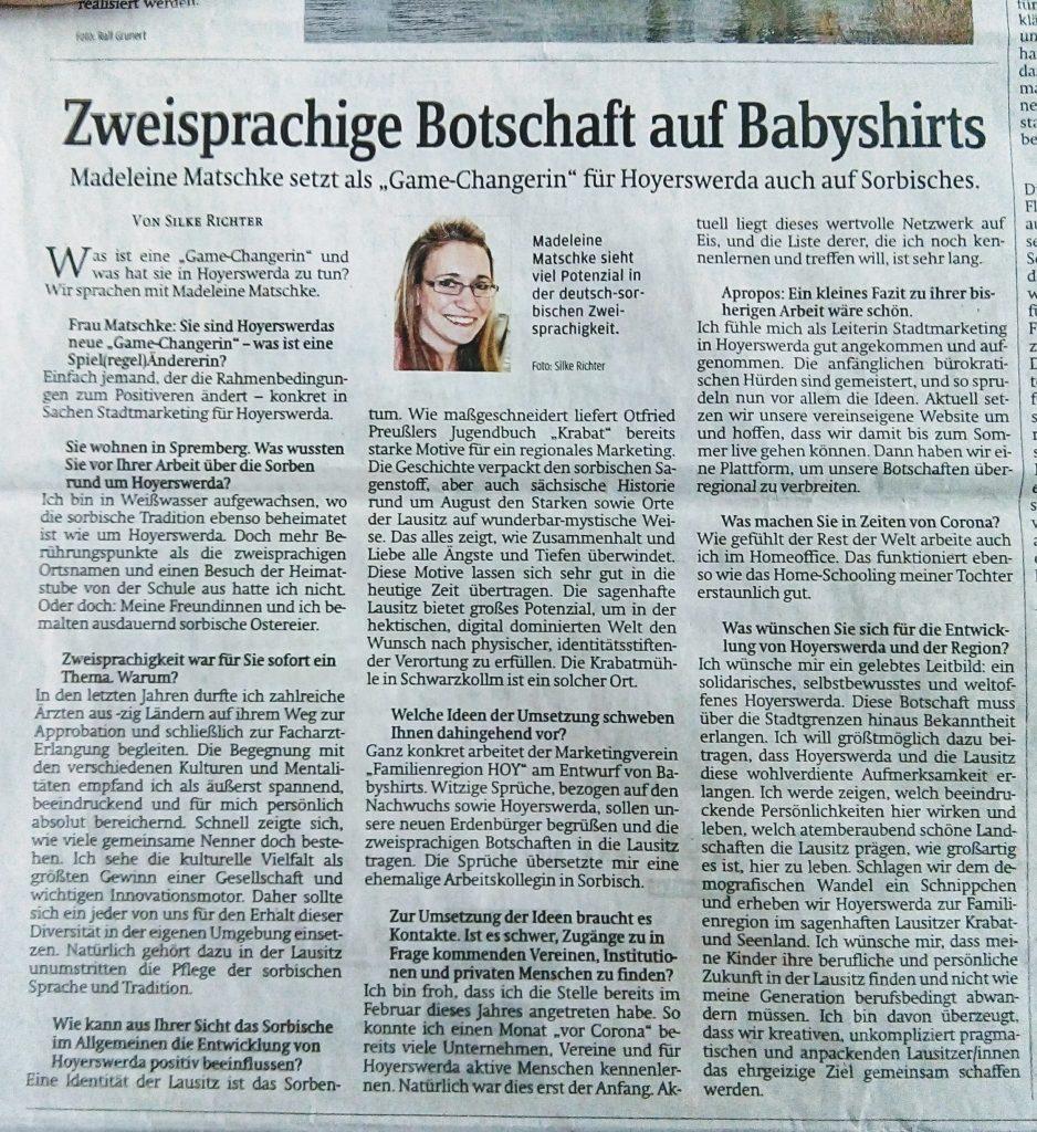 Pressebericht in der SZ, Interview mit Madeleine Matschke, Leiterin Stadtmarketing in Hoyerswerda