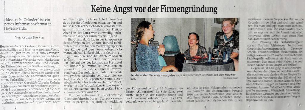 Presseartikel in der Sächsischen Zeitung Hoyerswerda über das Gründerevent des Marketingvereins und der Wirtschaftsförderung